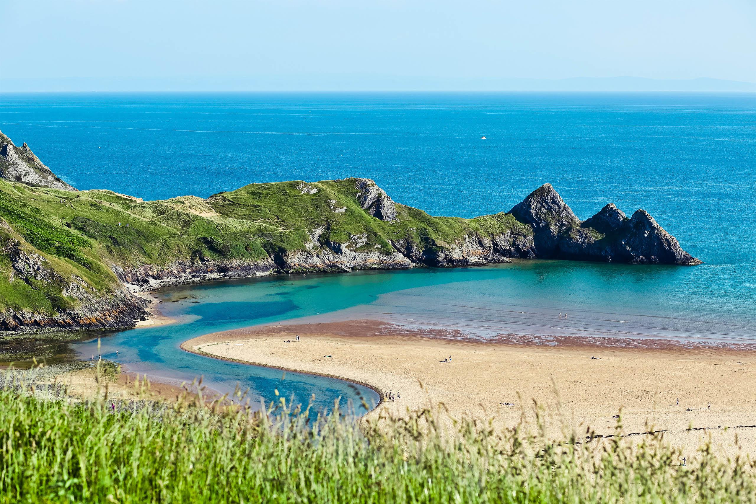 welsh beach sand and sea